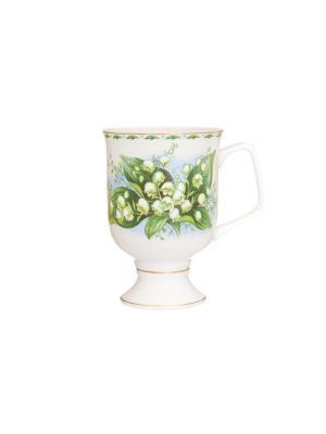 Кружка для капучино и кофе латте Ландыши Elan Gallery. Цвет: зеленый, белый