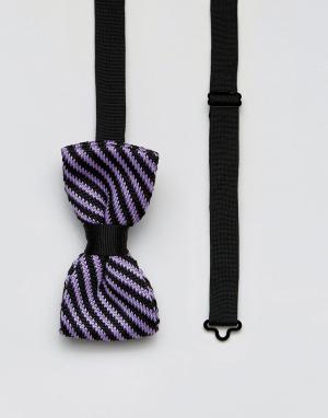 7X Трикотажный галстук-бабочка в полоску. Цвет: фиолетовый