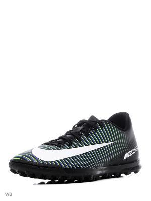 Бутсы MERCURIALX VORTEX III TF Nike. Цвет: черный, темно-зеленый