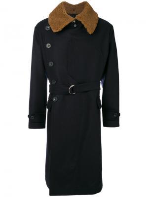 Пальто с контрастными лацканами Cini. Цвет: синий