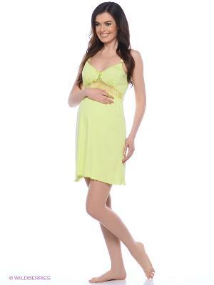 Ночная сорочка для беременных и кормящих с кружевом Hunny Mammy. Цвет: салатовый