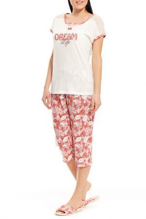Пижама с капри Relax Mode. Цвет: терракотовый, тропик
