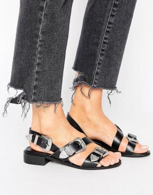 Park Lane Кожаные сандалии с пряжками в стиле вестерн. Цвет: черный