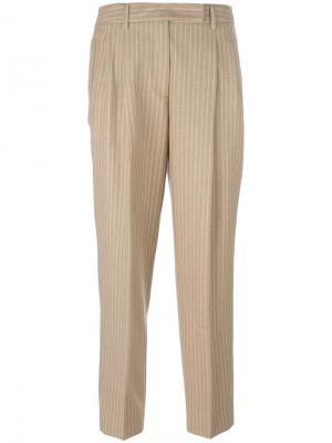 Зауженные брюки со складками Alberto Biani. Цвет: телесный