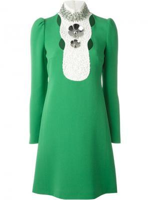 Декорированное платье с кристаллами Giambattista Valli. Цвет: зелёный