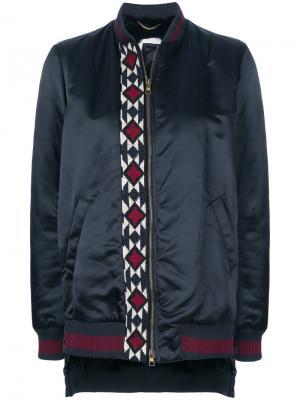 Куртка бомбер с вышивкой и кроличьим мехом Bazar Deluxe. Цвет: синий