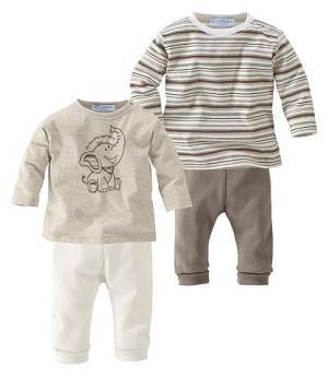 Klitzeklein, 2 футболки с длинным рукавом и пары брюк (комплект из 4 изд.) KLITZEKLEIN. Цвет: в полоску/коричневый + бежевый/натуральный