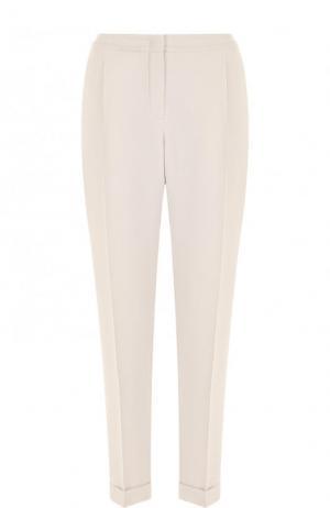 Шелковые брюки прямого кроя с защипами и эластичным поясом Loro Piana. Цвет: серый
