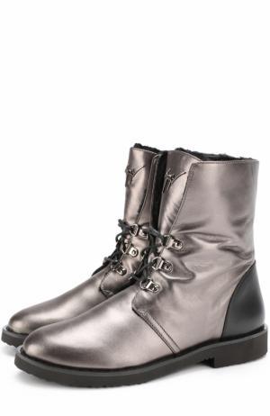 Ботинки Fortune из металлизированной кожи на шнуровке Giuseppe Zanotti Design. Цвет: черный
