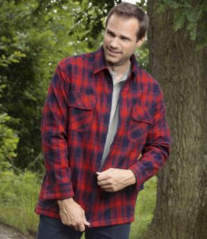 Утепленная Фланелевая Рубашка с Подкладкой из Шерпы AFM. Цвет: в-клетку