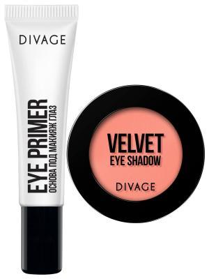 Набор №107 основа под макияж глаз eye primer + тени velvet тон 7321 DIVAGE. Цвет: прозрачный, персиковый