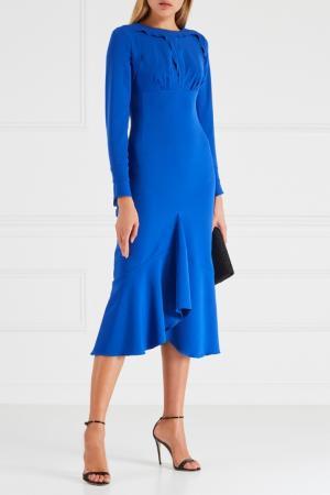 Платье с оборками Chapurin. Цвет: синий