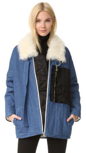 Пальто с Citroen короткая шерсть. Sandy Liang. Цвет: насыщенный синий