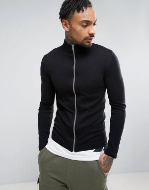 ASOS Черная хлопковая спортивная куртка. Цвет: черный