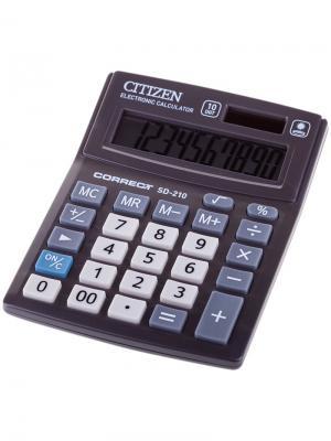 Калькулятор настольный Correct SD 10 разрядов, двойное питание, 103*138*24 мм, черный CITIZEN. Цвет: черный