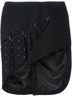 Асимметричная юбка с заклепками Anthony Vaccarello. Цвет: чёрный