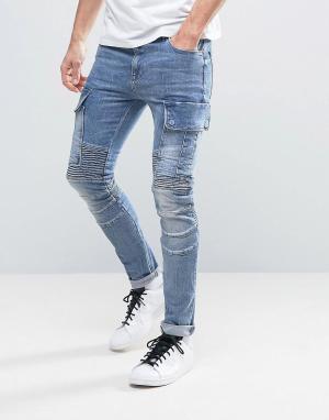ASOS Синие джинсы суперскинни с карманами-карго и байкерской отделкой. Цвет: синий