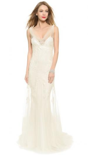 Вечернее-платье Sylvie в стиле комбинации с воротником-хомутом Monique Lhuillier. Цвет: белый шелк