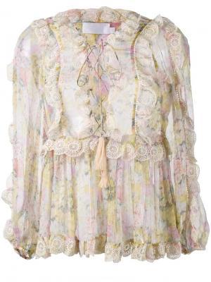 Блузка Valour с цветочным рисунком и оборками Zimmermann. Цвет: многоцветный