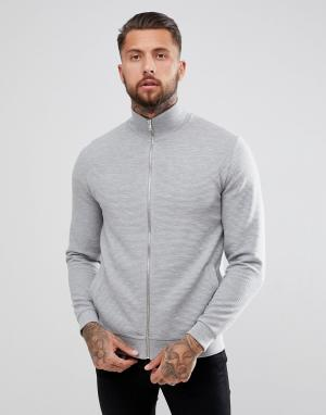 ASOS Серая спортивная куртка из трикотажа в рубчик DESIGN. Цвет: серый