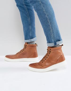 ASOS Светло-коричневые кожаные ботинки с белой подошвой. Цвет: рыжий