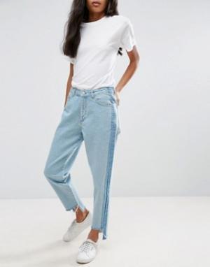Chorus Асимметричные прямые джинсы с контрастными вставками и высокой талией. Цвет: синий