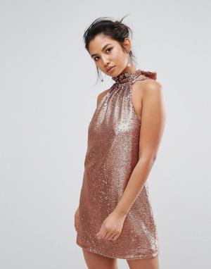 C/meo Collective Платье мини с пайетка. Цвет: медный