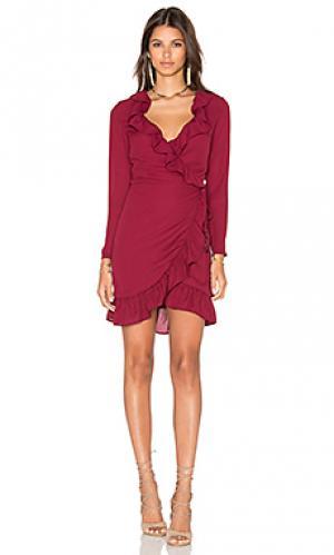 Платье ruffle tuscan fling LIONESS. Цвет: красное вино