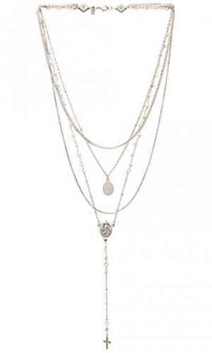 Ярусное ожерелье с камнем Vanessa Mooney. Цвет: металлический серебряный