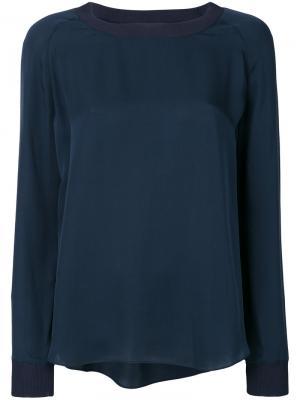 Блузка с круглым вырезом Vince. Цвет: синий