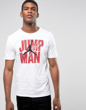 Jordan Белая футболка Nike Jumpman 801070-100. Цвет: белый