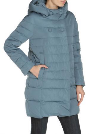 Полуприлегающая куртка с застежкой на молнию и кнопки MALINARDI. Цвет: серо-голубой