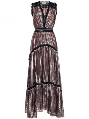 Платье без рукавов со складками Peter Pilotto. Цвет: металлический