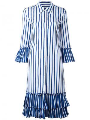 Платье-рубашка с оборками Dondup. Цвет: синий