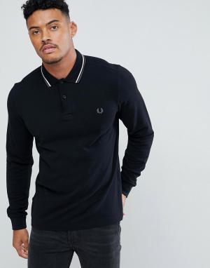 Fred Perry Черная приталенная рубашка с длинными рукавами и контрастной отделкой. Цвет: черный