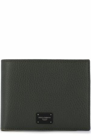 Кожаное портмоне с отделениями для кредитных карт и монет Dolce & Gabbana. Цвет: темно-зеленый
