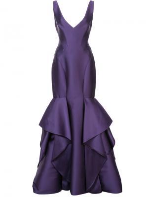 Расклешенное длинное платье с V-образным вырезом Monique Lhuillier. Цвет: розовый и фиолетовый