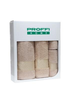 Набор подарочный полотенец PROFFI HOME 4 шт., бежевый. Цвет: бежевый