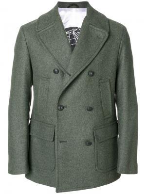 Короткое двубортное пальто Hydrogen. Цвет: зелёный