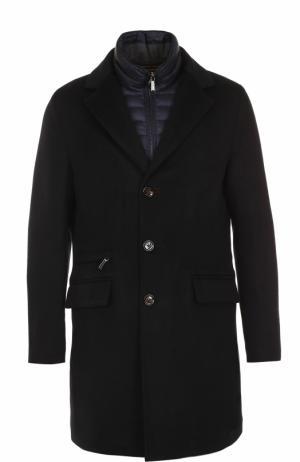 Шерстяное однобортное пальто с пуховой подстежкой Moorer. Цвет: темно-синий