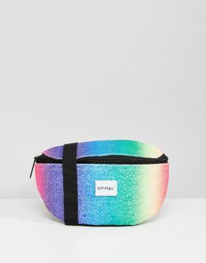 Spiral Разноцветная сумка-кошелек на пояс со стразами. Цвет: мульти