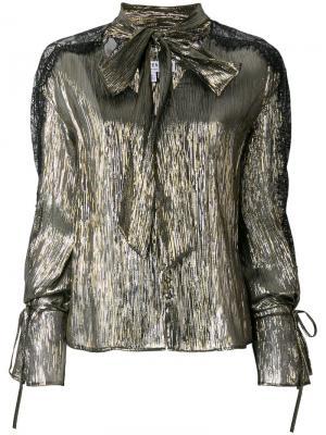Блузка с завязками на горловине Perseverance London. Цвет: металлический