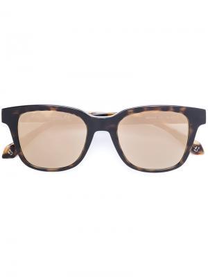 Солнцезащитные очки с квадратной оправой Brioni. Цвет: коричневый