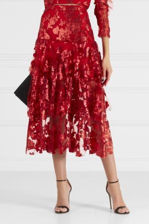 Кружевная юбка Rodarte. Цвет: красный