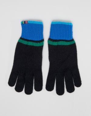 PS Paul Smith Черные перчатки с контрастными полосами. Цвет: черный