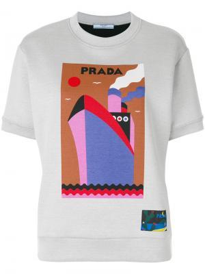 Толстовка с принтом лодки Prada. Цвет: серый