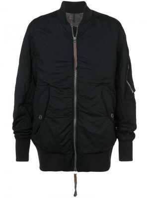 Куртка-бомбер Ziggy Chen. Цвет: чёрный