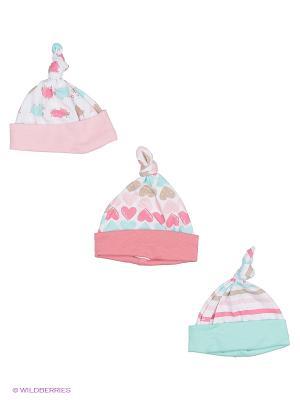 Комплект детский: шапочка 3 шт. Lucky Child. Цвет: розовый, зеленый