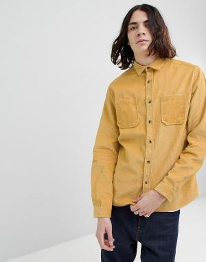 ASOS Желтая вельветовая рубашка навыпуск DESIGN. Цвет: желтый