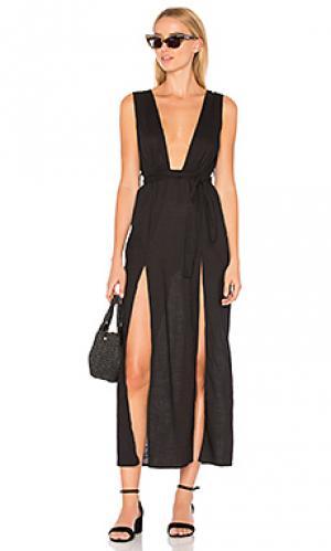 Макси платье с глубоким вырезом esperanza LIONESS. Цвет: черный